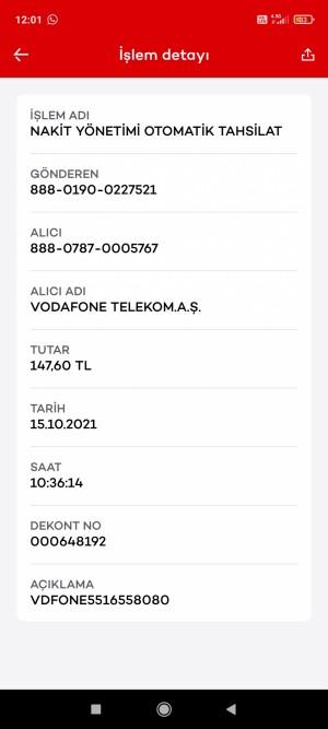 Vodafone Ücret Çekmiş Ve Hala Fatura Ödenmemiş Olarak Görülmektedir