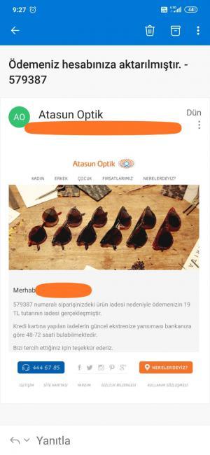Atasun Optik'ten Aldığım Ürün Siparişi İptal Edildi