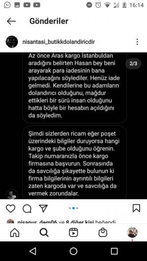 Aras Kargo Instagram Sitenin Bildiği Halde Kargolarını Getiriyor