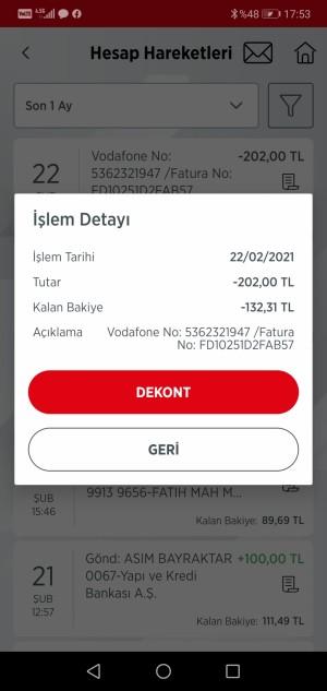 Vodafone Aynı Faturanın Tahsil Edilmesi