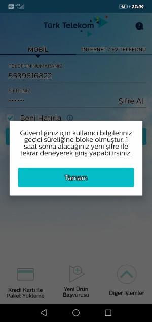 Ben Hep Türk Telekom Online Uygulaması Kullanıyorum Ve 1 Aydan Beri Bilgi Hatası Ve Bloke Hatası