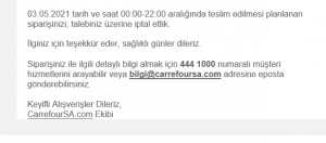 Carrefoursa Haberim Ve Talebim Olmadan Siparişimi İptal Etti
