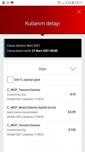 Vodafone Faturama Fazladan Ödeme Yansıtılması