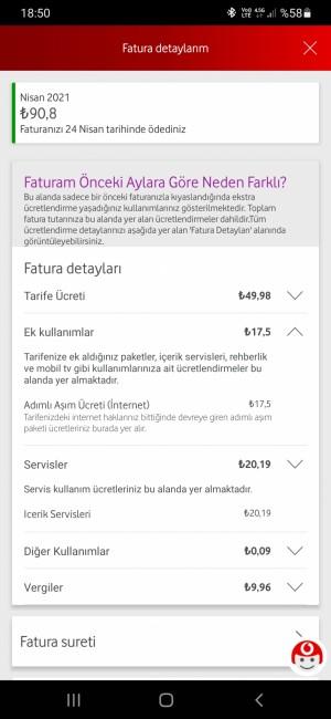 Vodafone Fazla Fatura Ödetmeleri