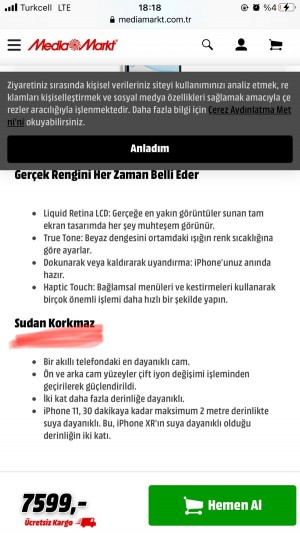 Apple Iphone 11 Pro Max Sıvı Temas