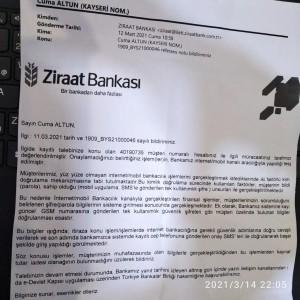 Ziraat Bankası Kişisel Verilerim Çalınması Sonucu Ziraat Bankası Hesabımdan Para Çekilmesi