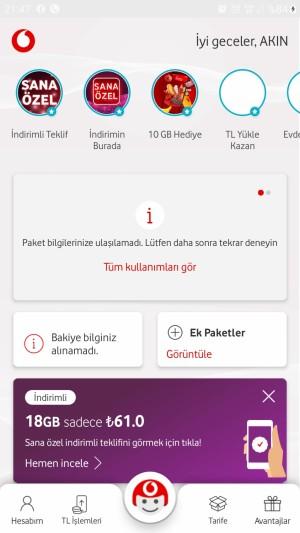 Vodafone Yanımda'dan Paket Bilgilerimi Göremiyorum